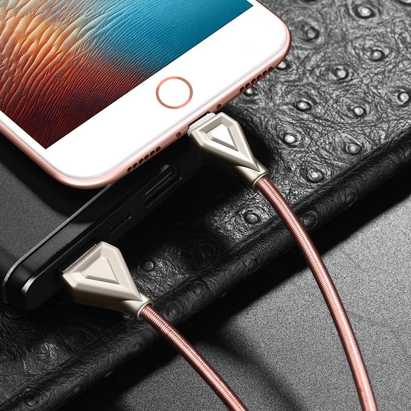 Hoco U25 Golden armor lightning charging cable(L=1M)