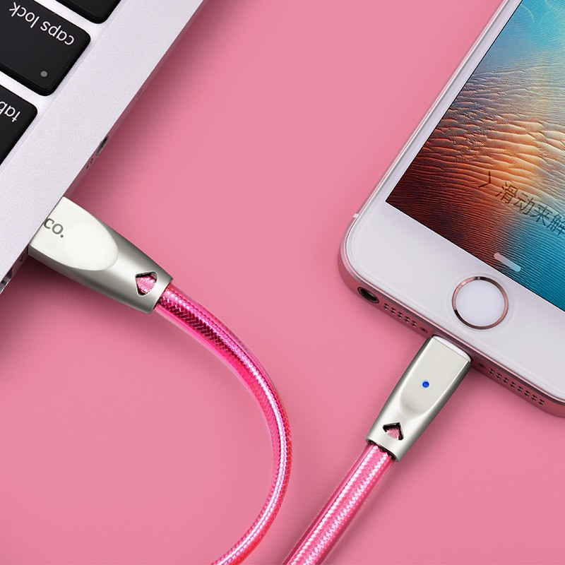 Hoco U9 Zinc Alloy Jelly Knitted Lightning Charging Cable(L=1.2)