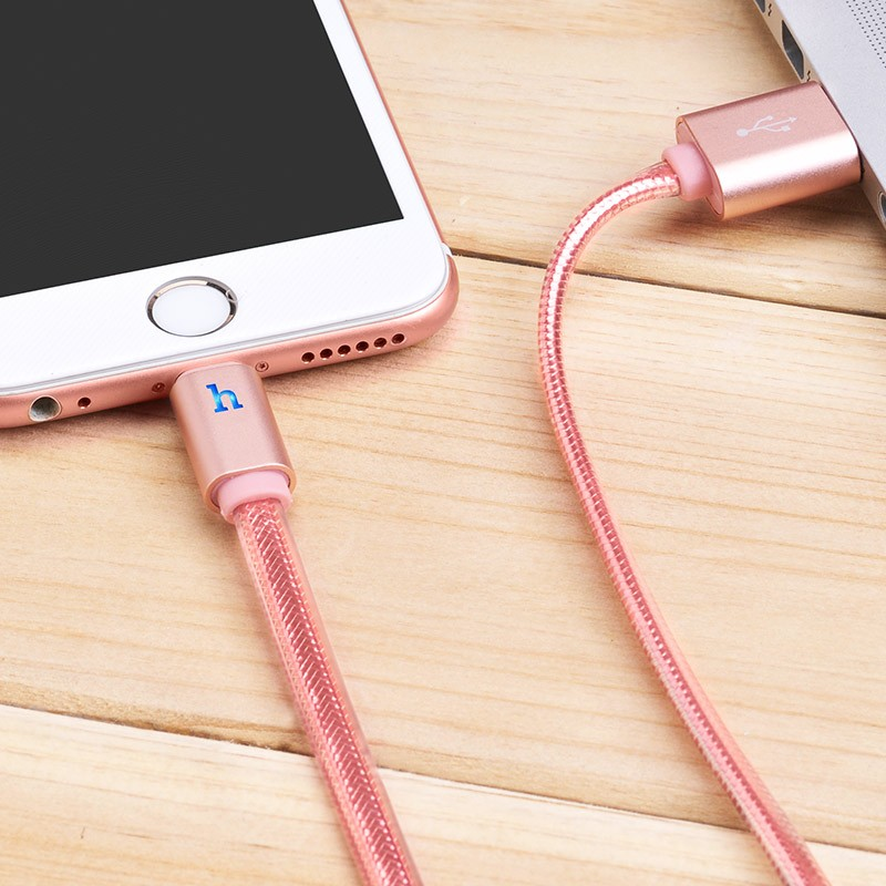 Hoco UPL12 Metal Jelly Knitted Lightning Charging Cable (Smart Light)(L=2)