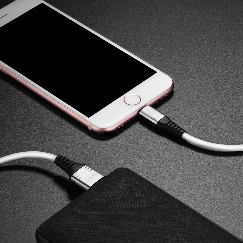 Hoco U46 Tricyclic silicone charging data cable for lightning