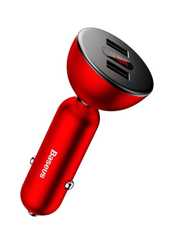 Baseus 360°rotation Daul input Digital display Car Charger Red