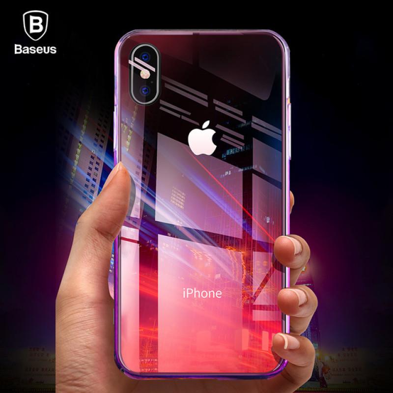 Baseus Glaze Case For iPX Transparent pink