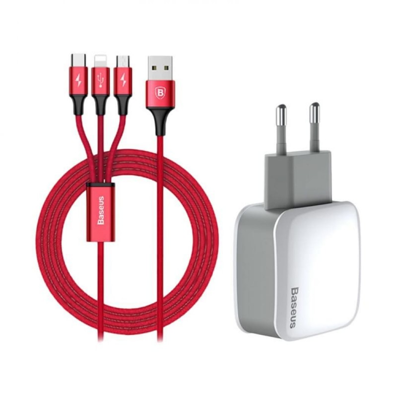Baseus LetourDualUCharger (EU) + 3-in-1cable (Apple + Micro + Type-C)